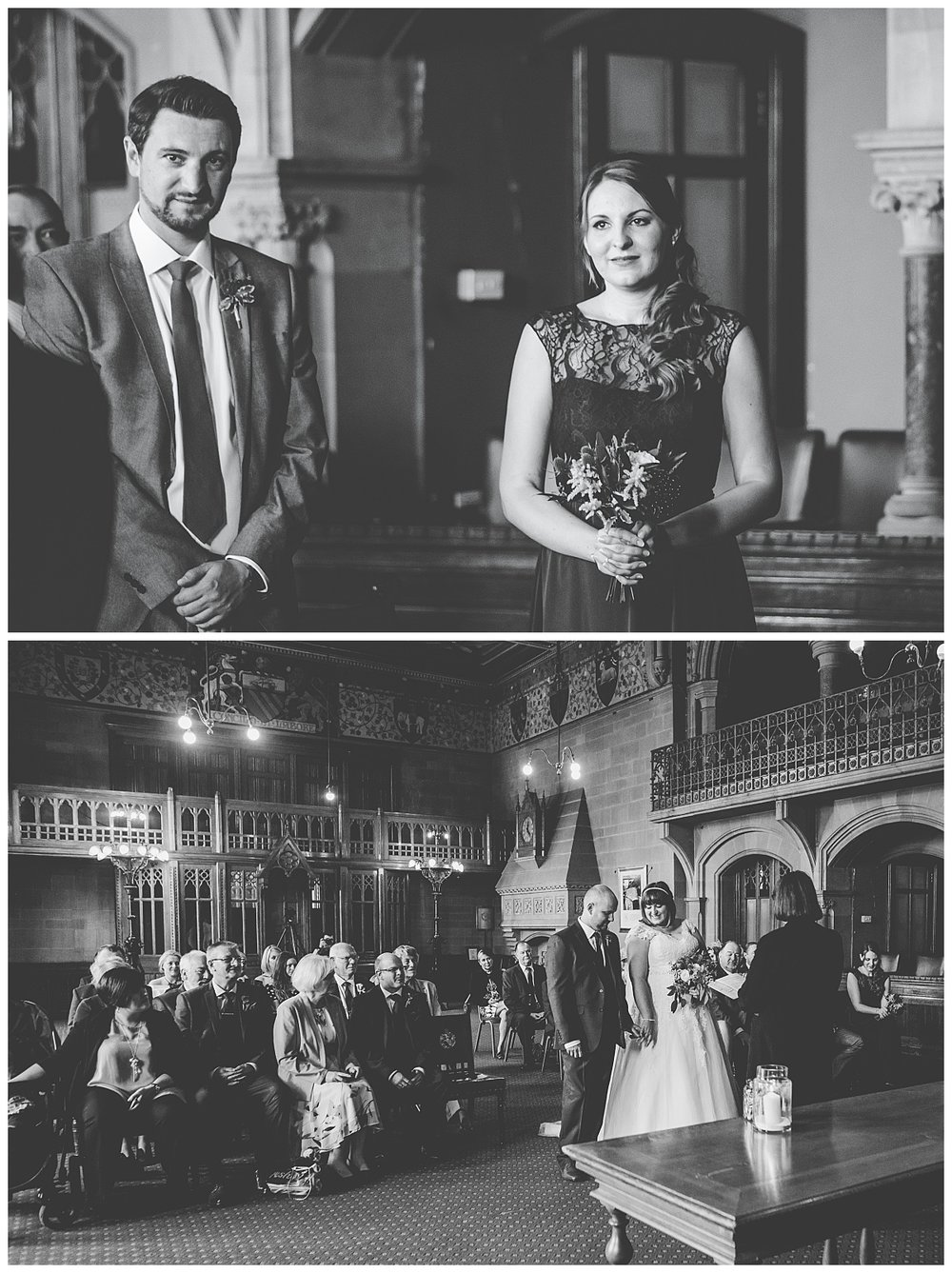 black and white images of wedding guest during the wedding ceremony at manchester town hall
