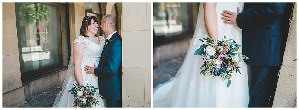 wedding photography in manchester - bride and groom in city centre portraits