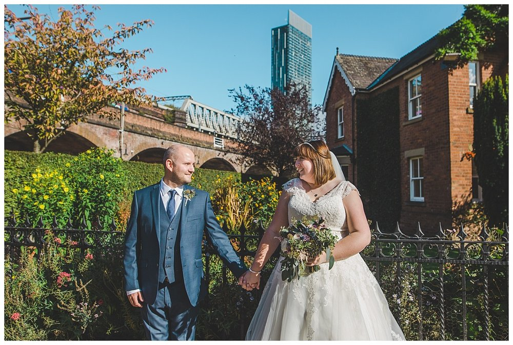modern and creative portraits of bride and groom - castlefield rooms manchester