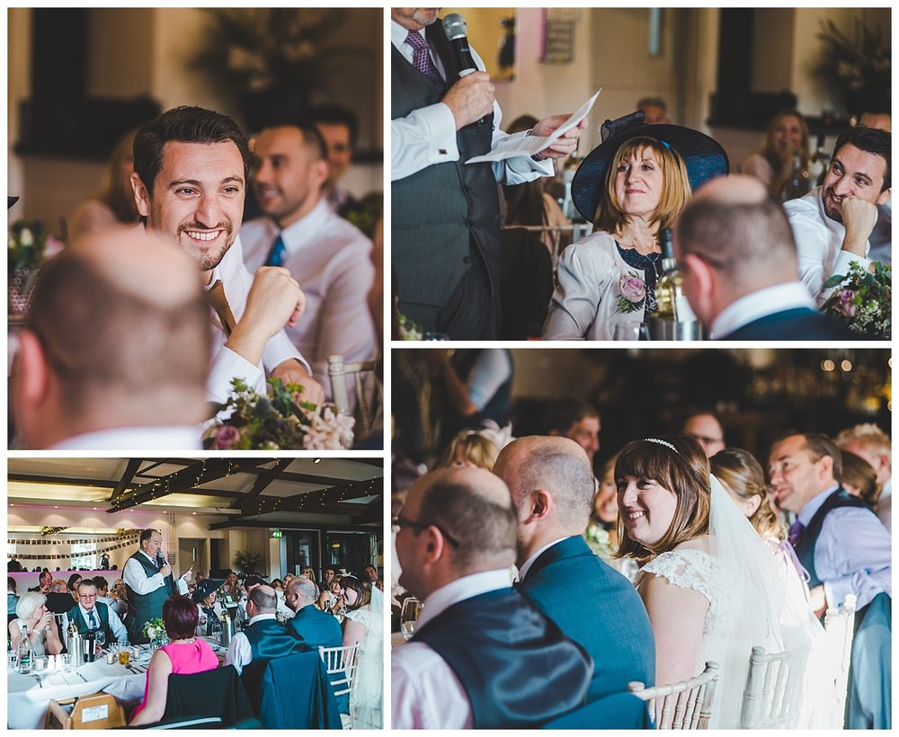 documentary wedding photographer in manchester - guests laughing during the speeches