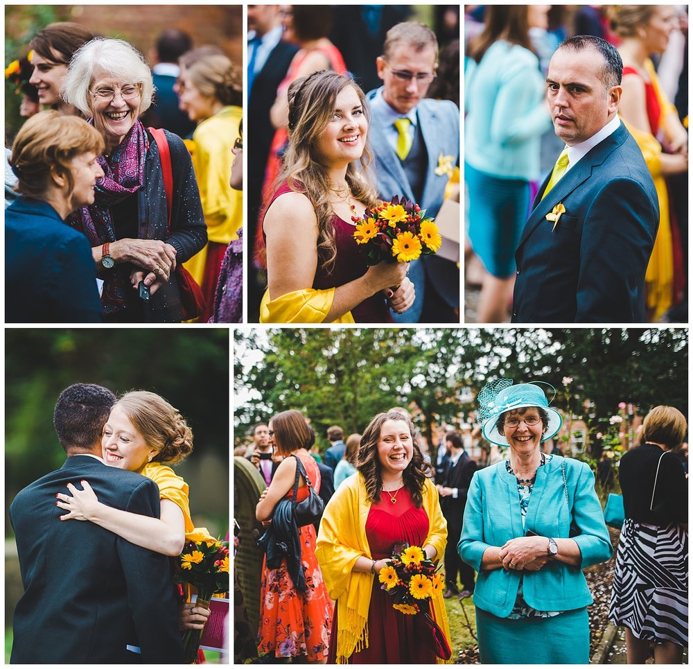 documentary wedding photographer in Manchester- natural shots of guests outside church
