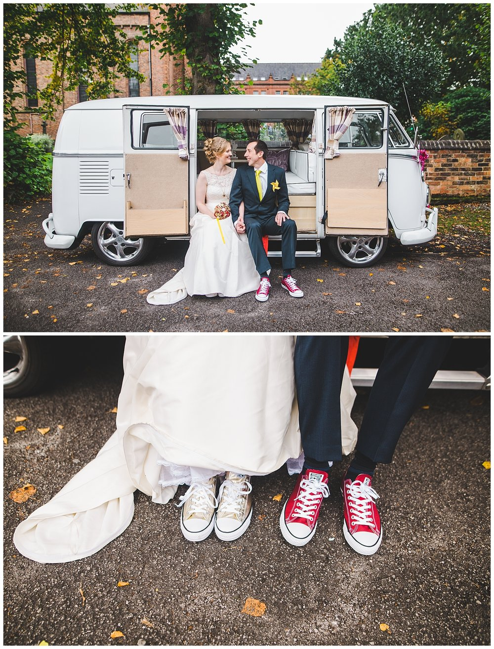 artistic shot of bride and groom with the camper van