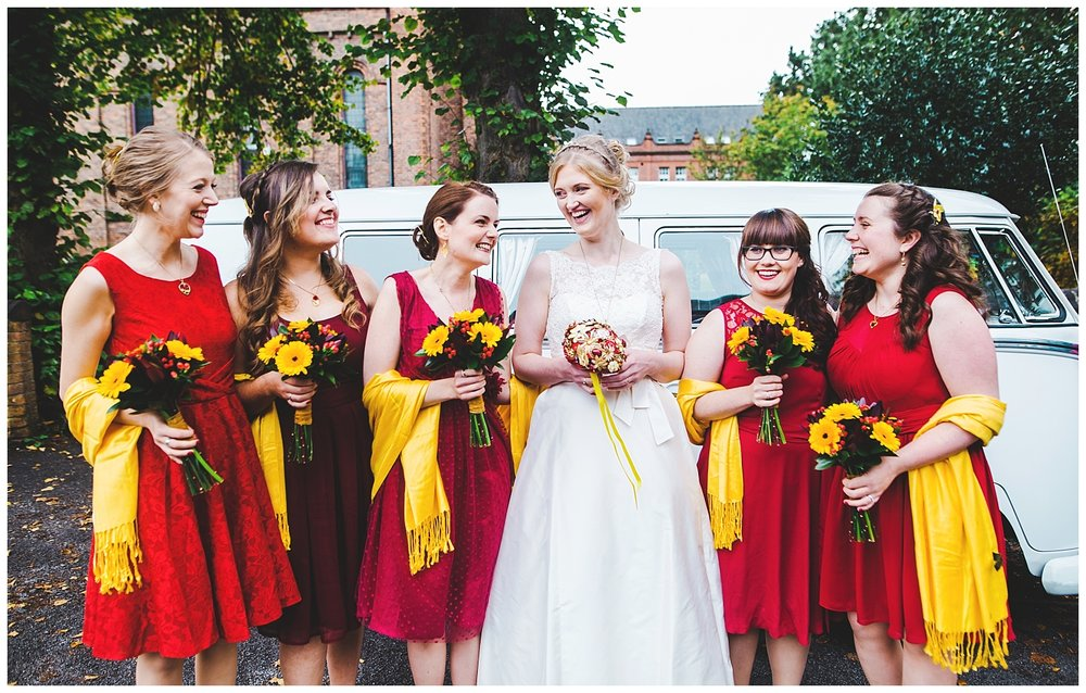 natural shot of the bride and her bridesmaids