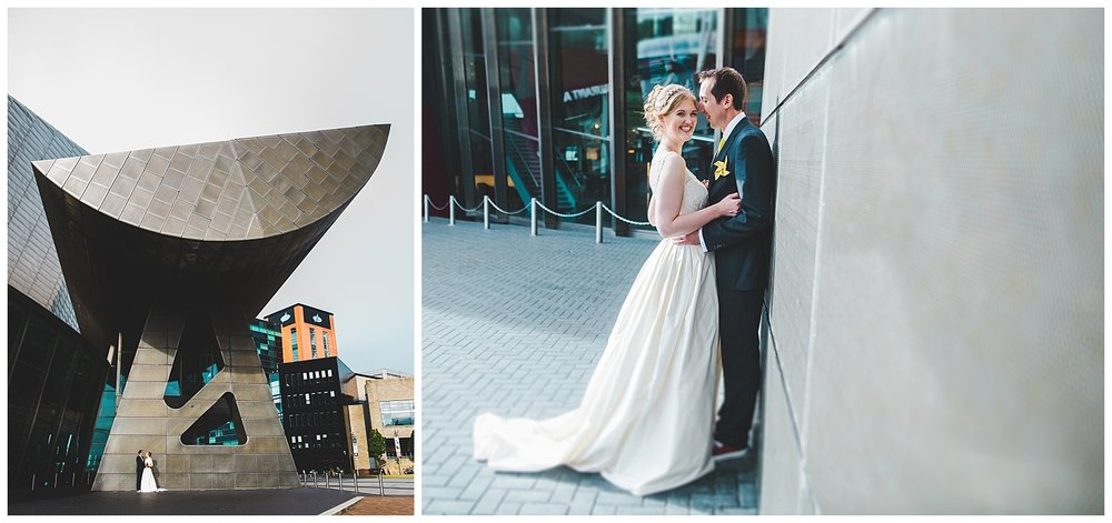 modern and relaxed wedding portraits in Manchester