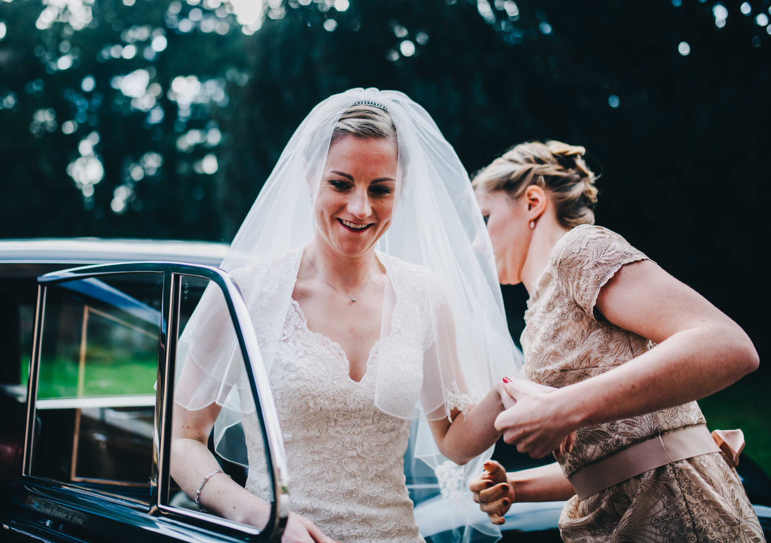 bride arrives at Shropshire wedding