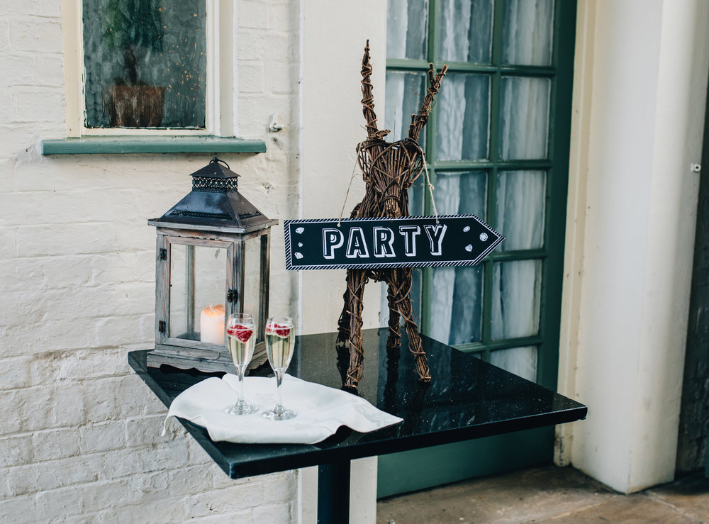 winter wedding inspiration - wedding reception details at Mytton and Mermaid wedding