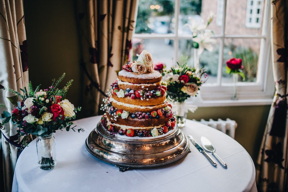 naked wedding cake - mytton and mermaid winter wedding