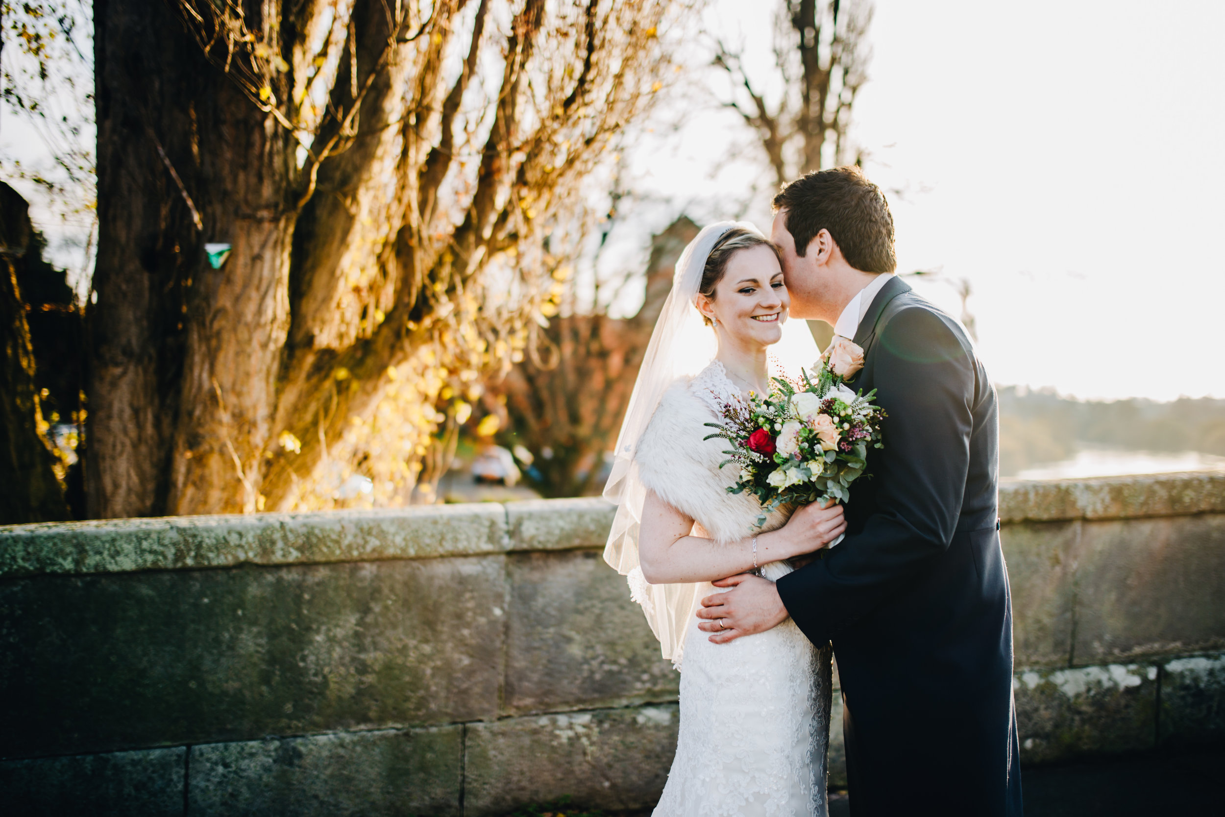 golden hour winter wedding portraits