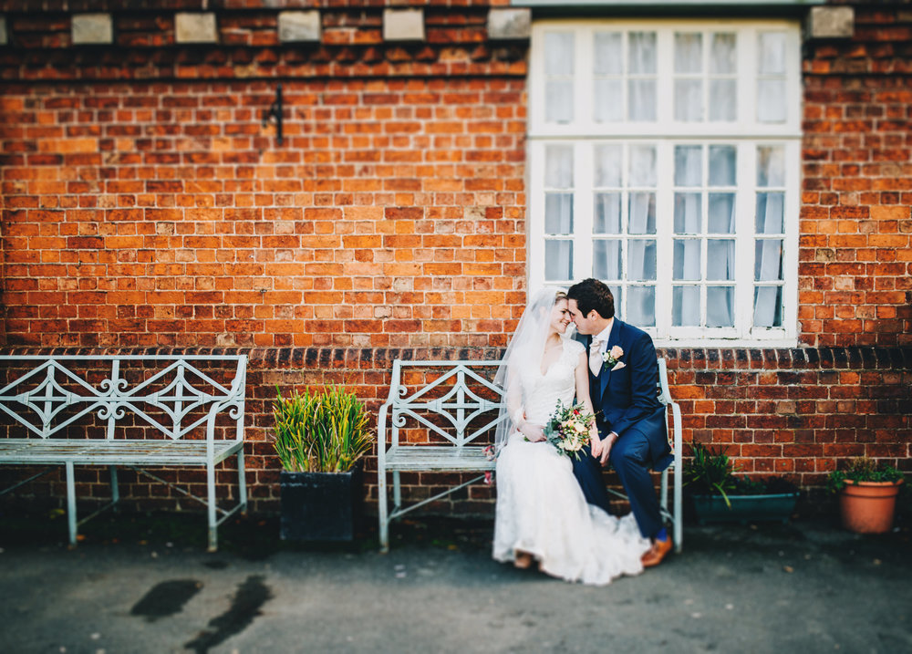 relaxed wedding portraits of the bride and groom at cheshire wedding
