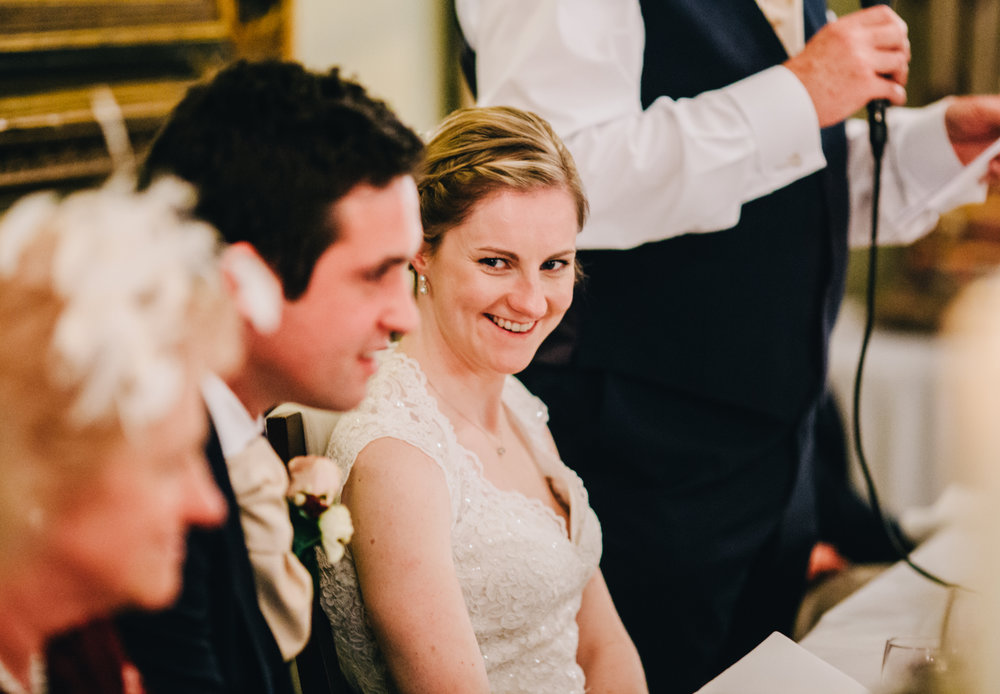 mytton and mermaid wedding - bride laughs during speeches