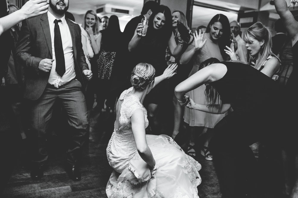 bride dancing at her wedding in cheshire