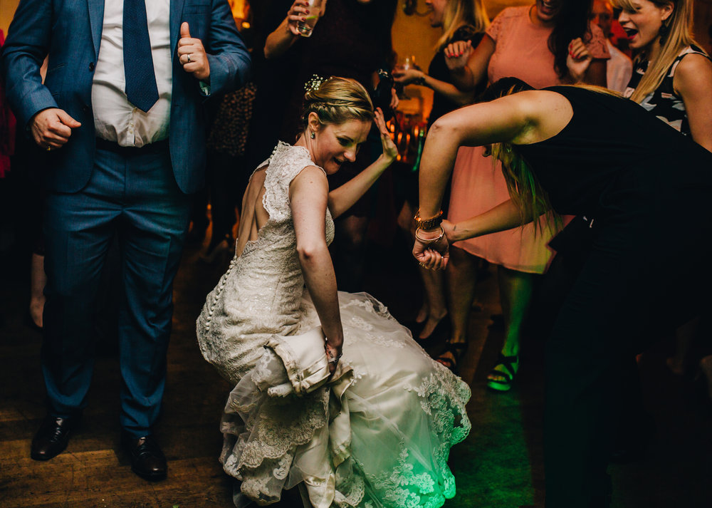 bride dancing at mytton and mermaid wedding