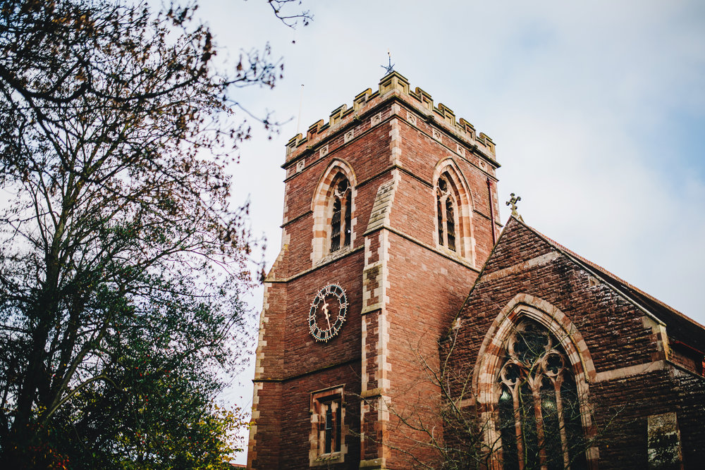 exterior shot of the church - meols brace wedding photography