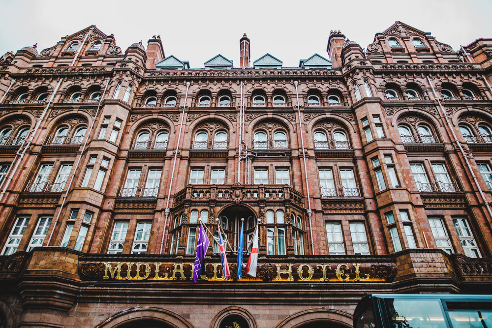 exterior shot of manchester  midland hotel - wedding photography in manchester
