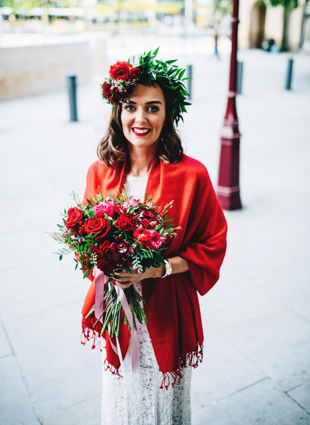 portrait of alternative bride outside manchester town hall