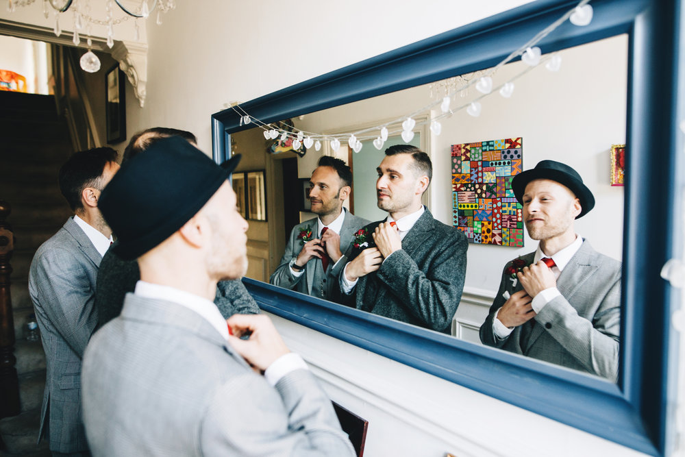 groom prep images in manchester - groomsmen getting ready