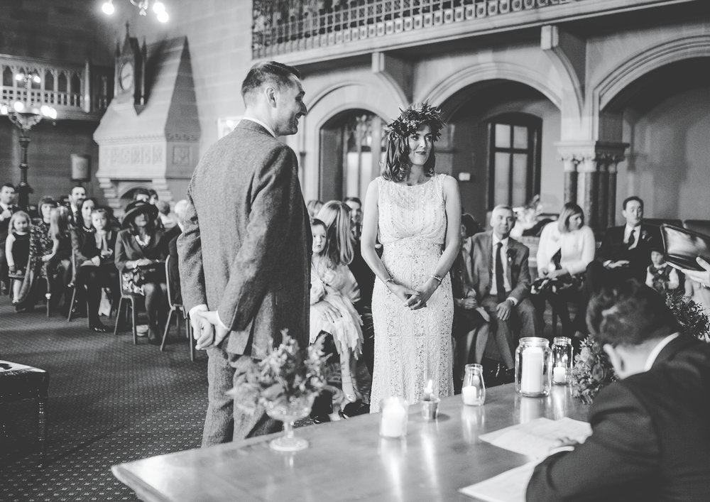Manchester town hall wedding ceremony - bride and groom saying their vows