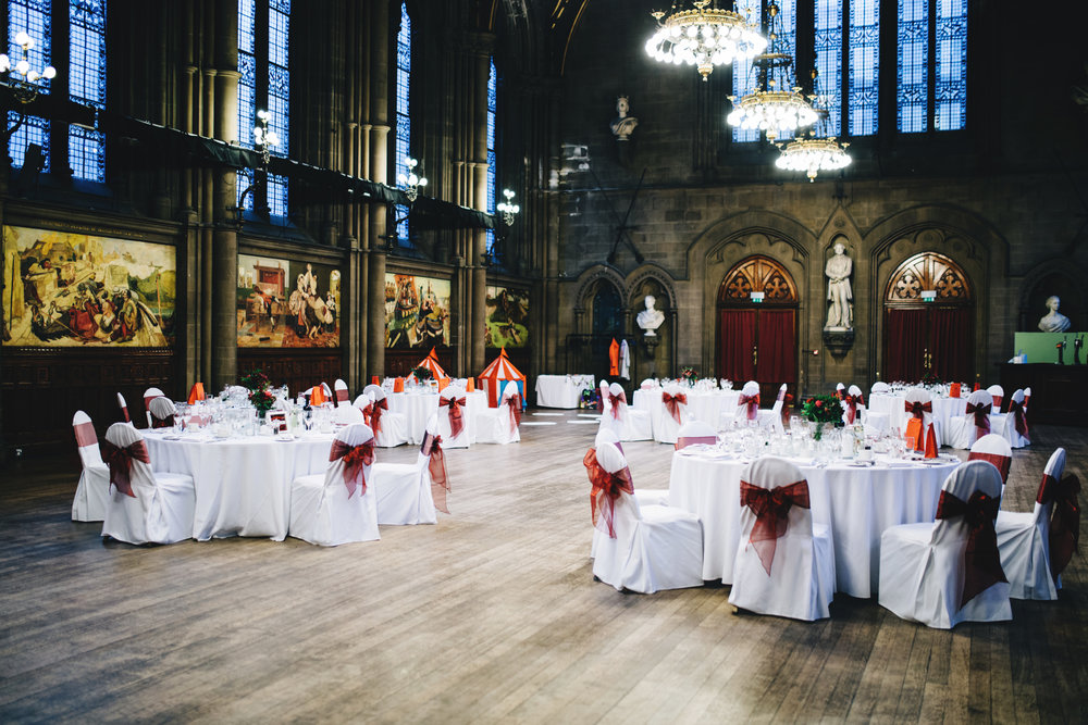 the great hall at Manchester town hall - set up for the wedding day