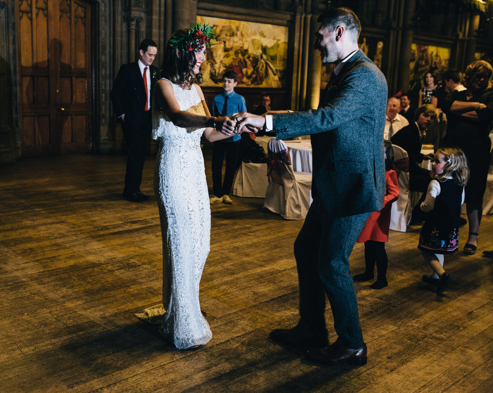 bride and groom's first dance at manchester town hall