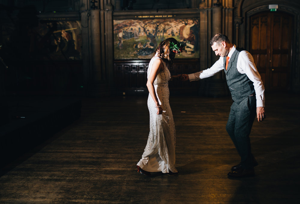 Manchester town hall wedding photography - dance with the bride and groom