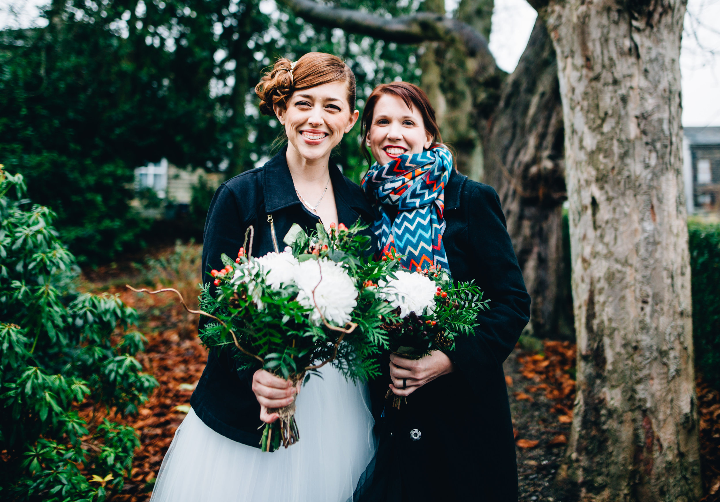 alternative wedding in haworth - bride and bridesmaid