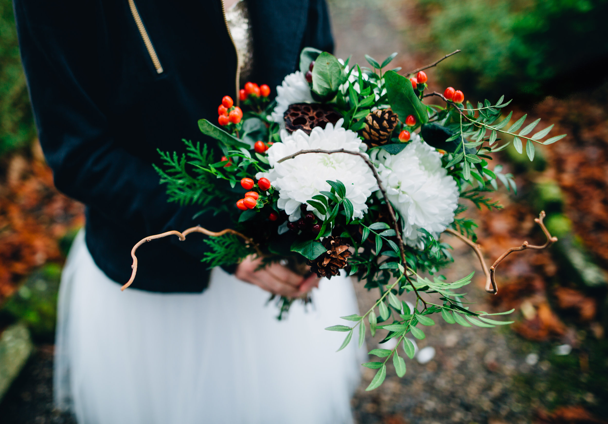 winter wedding in yorkshire - a winter bouquet