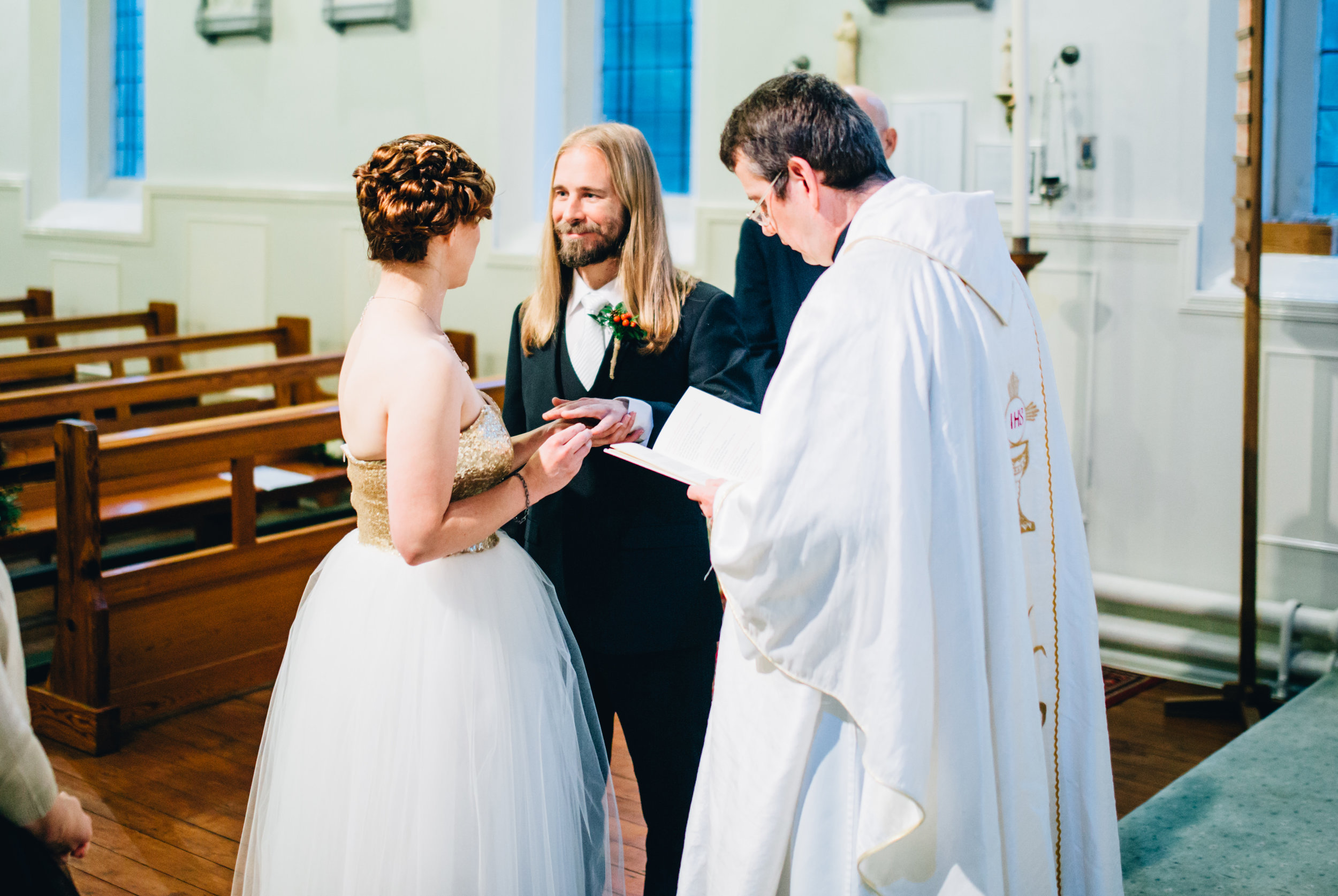exchanging vows - yorkshire wedding