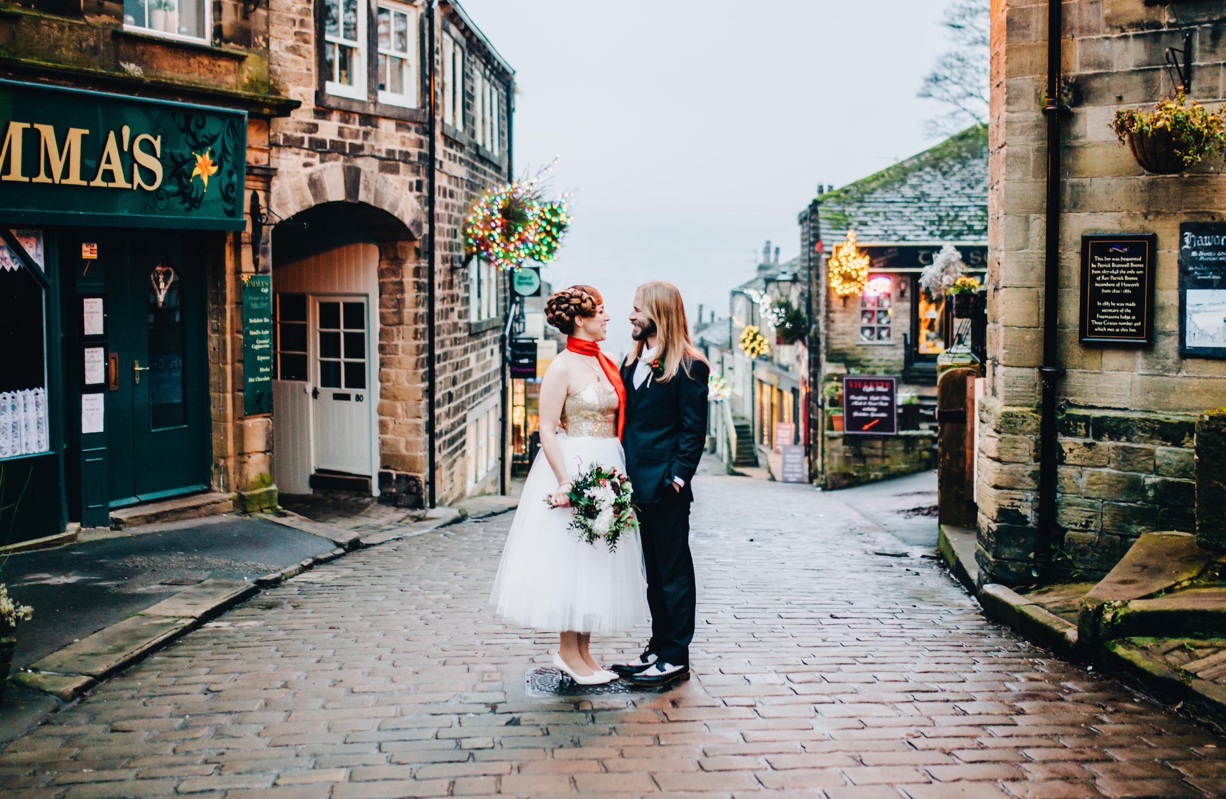 winter wedding portraits on the streets of Haworth