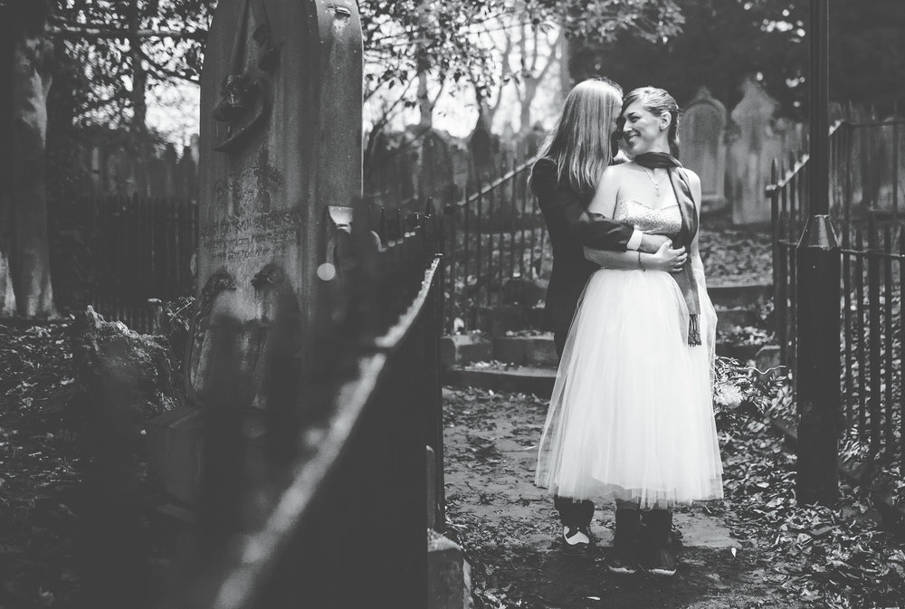 alternative wedding in the North West - bride and groom in the graveyard