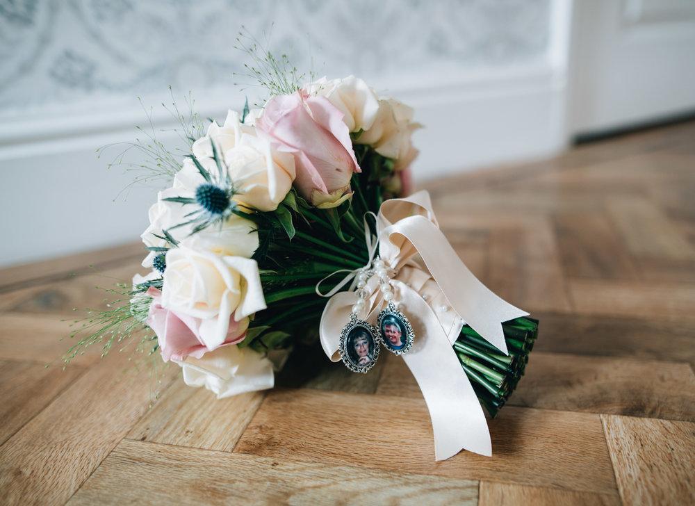 close up of bride's wedding bouquet