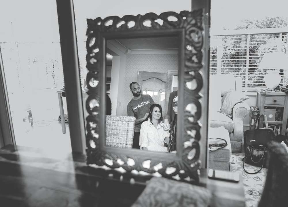 artistic black and white images of the bride getting ready - manchester wedding photographer