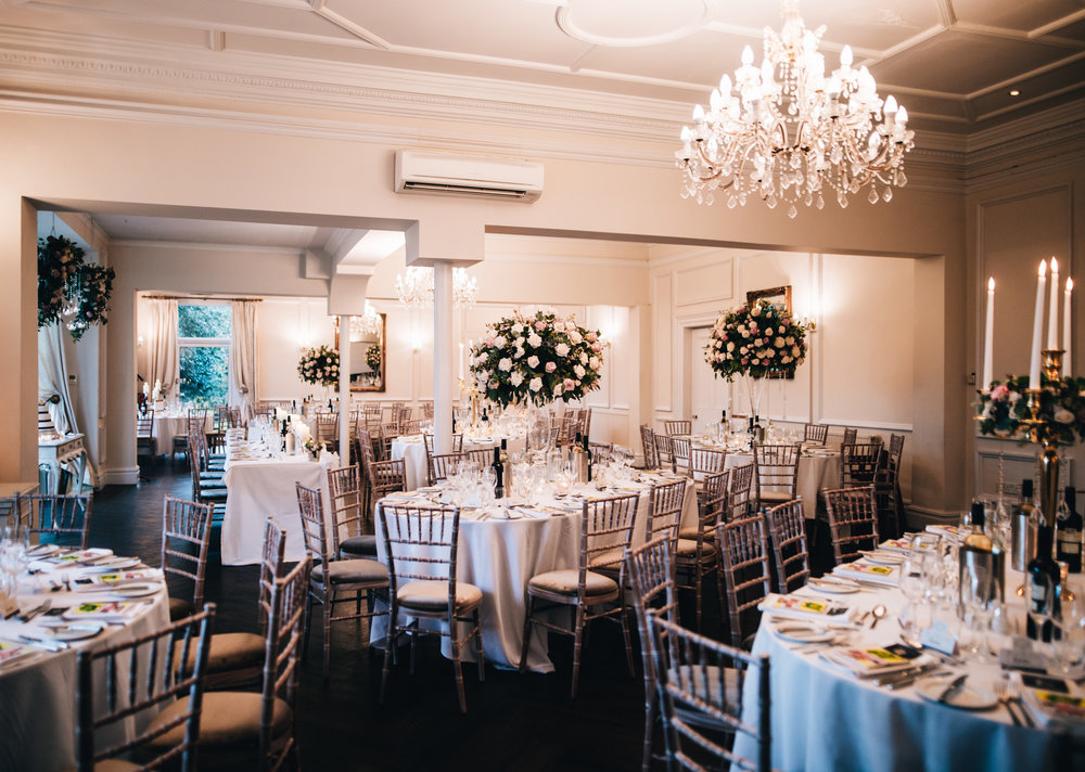 ashfield house wedding ceremony - the room set up for the wedding breakfast