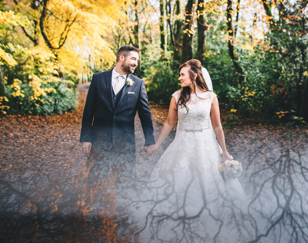 creative wedding images - bride and groom at Ashfield House - Manchester Wedding Photographer