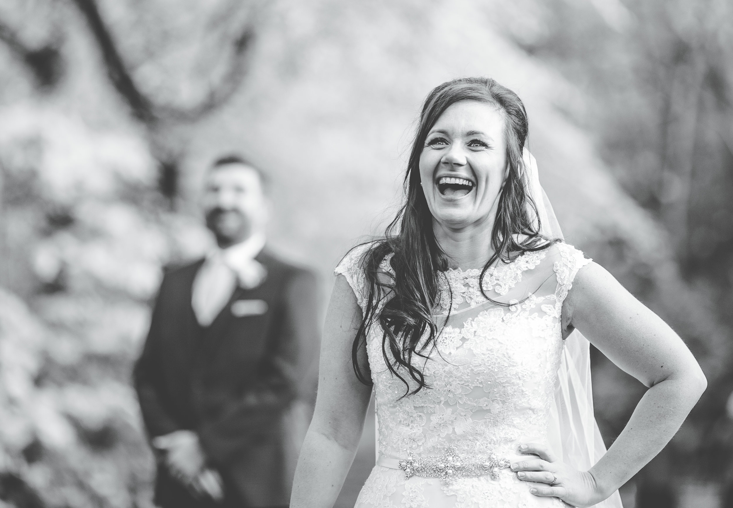 great smiles from the bride - Lancashire wedding photography