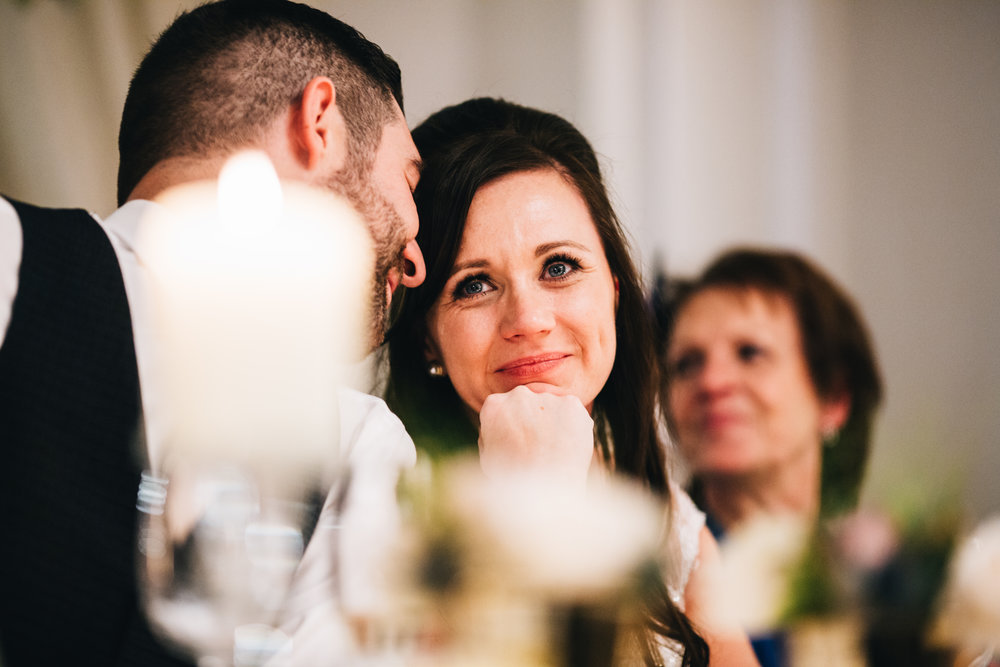 bride gets emotional during the speeches - documentary wedding photography in MAnchester