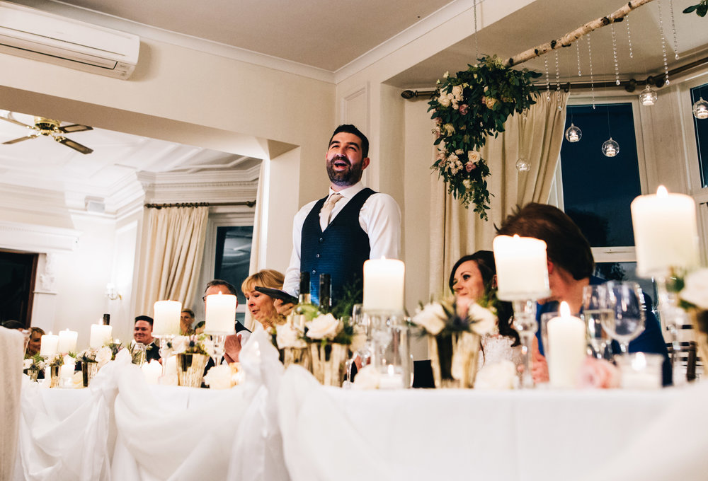 groom gives his speech at ashfield house in Manchester
