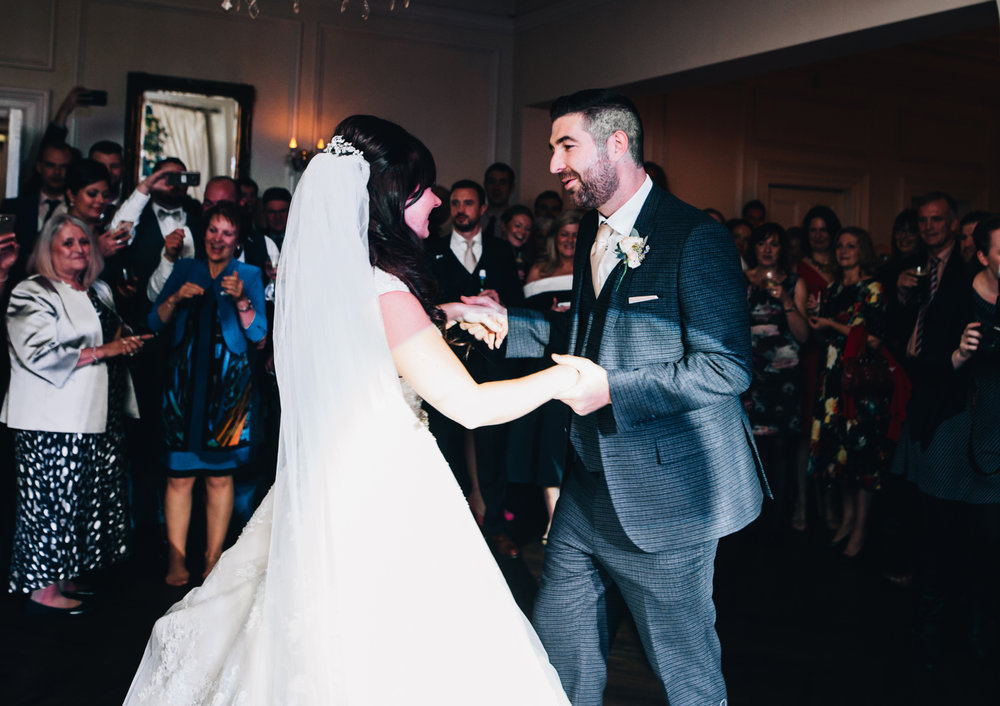 the first dance at ashfield house wedding venue - fun and relaxed wedding photography in Manchester