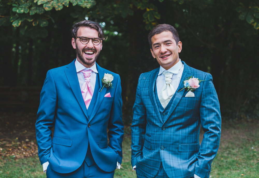 groom and his groomsmen - blue suits