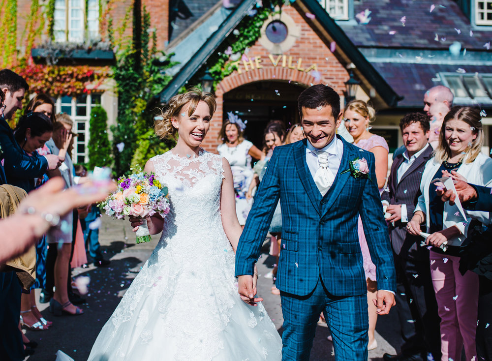 lancashire wedding photographer - confetti is thrown