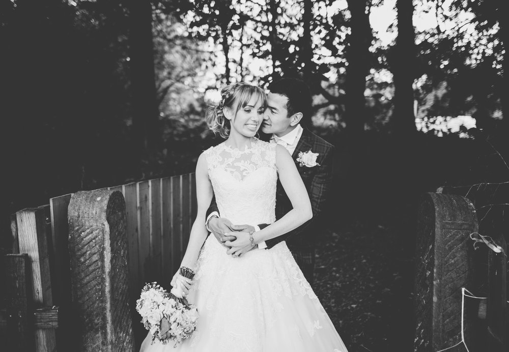 black and white portrait of the bride and groom - artistic wedding photography
