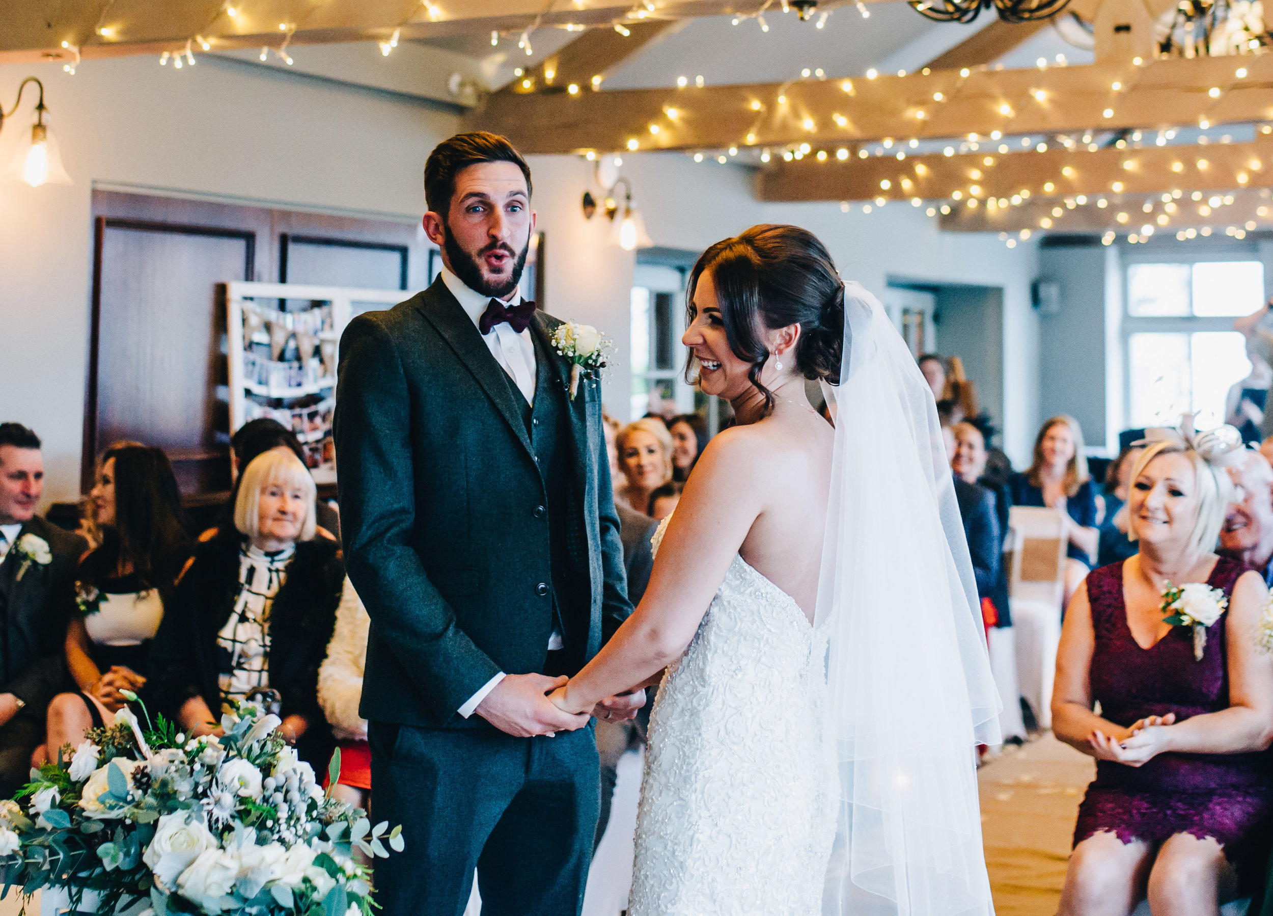 groom relieved - documentary wedding photography Lancashire