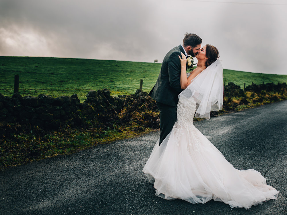 wedding photography at the Alma Inn in Laneshawbridge - portraits of the bride and groom