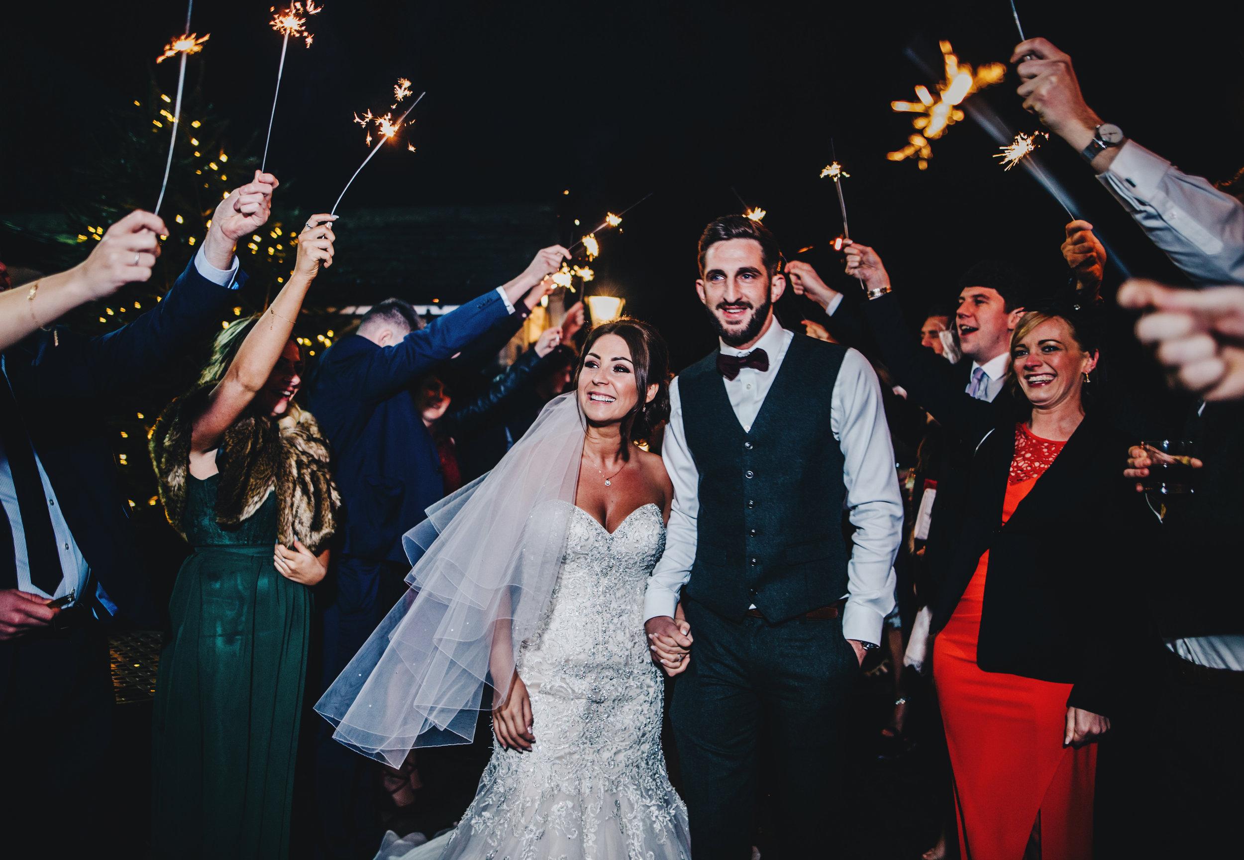 winter wedding sparklers
