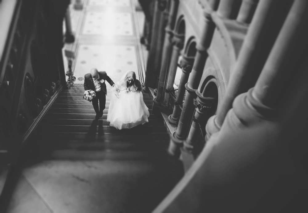 manchester town hall wedding - bride walks up the room