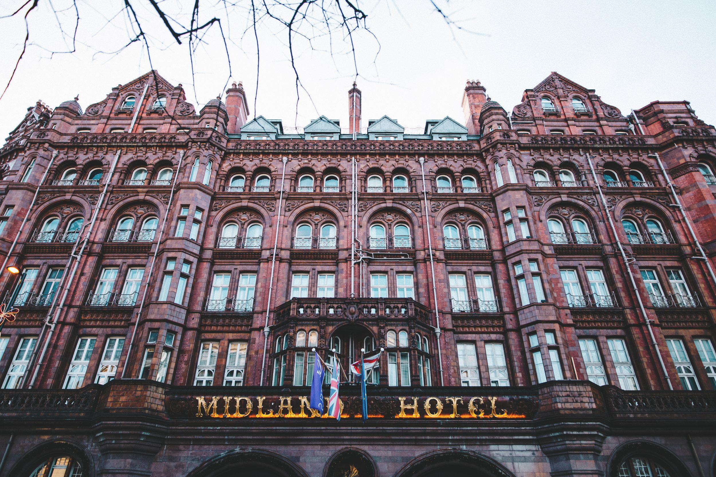 Manchester wedding photographer - exterior of Midland Hotel