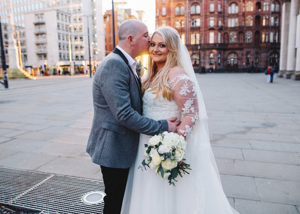 beautiful winter sun - winter wedding in manchester city centre.