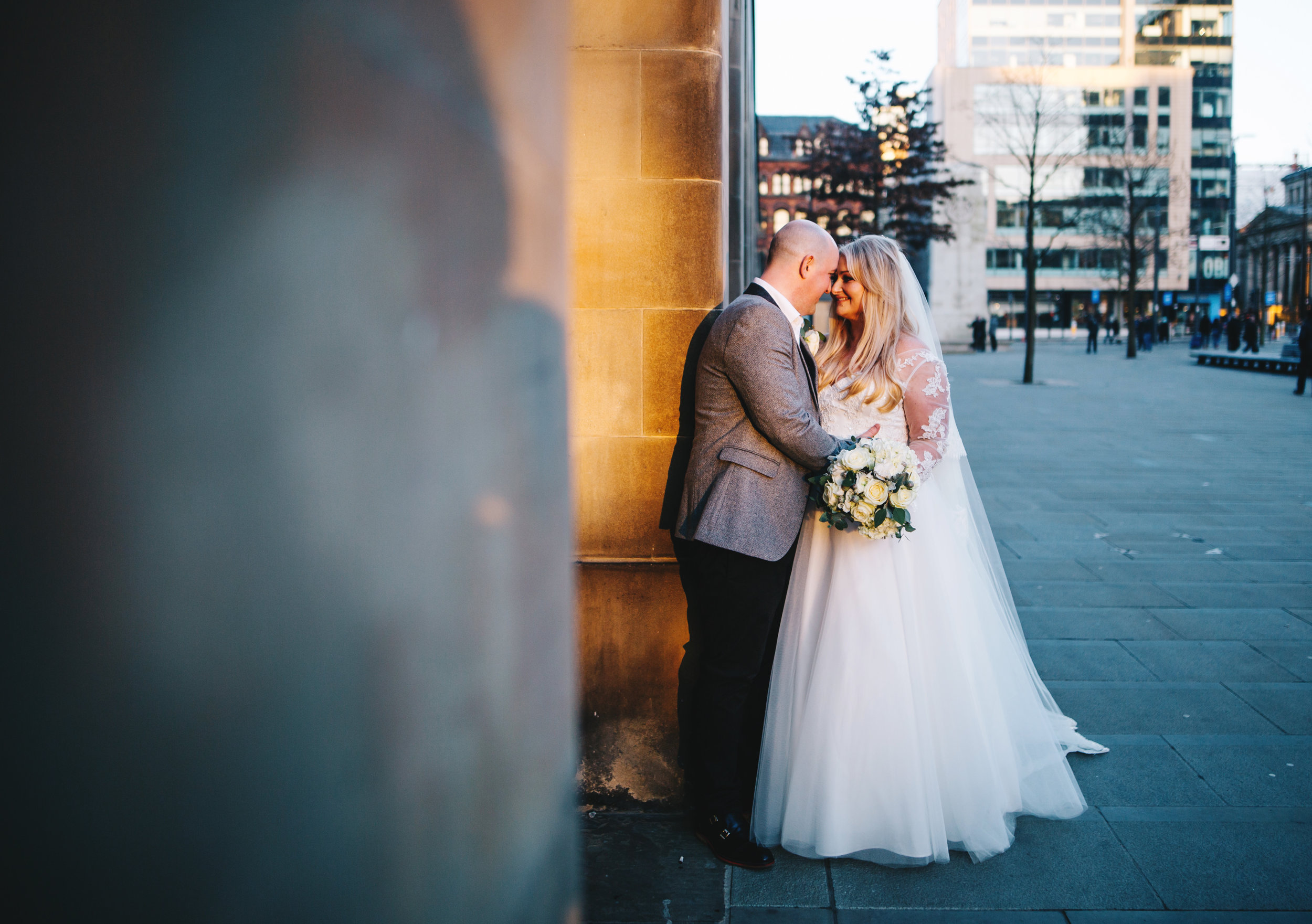 winter wedding portraits at Manchester town hall