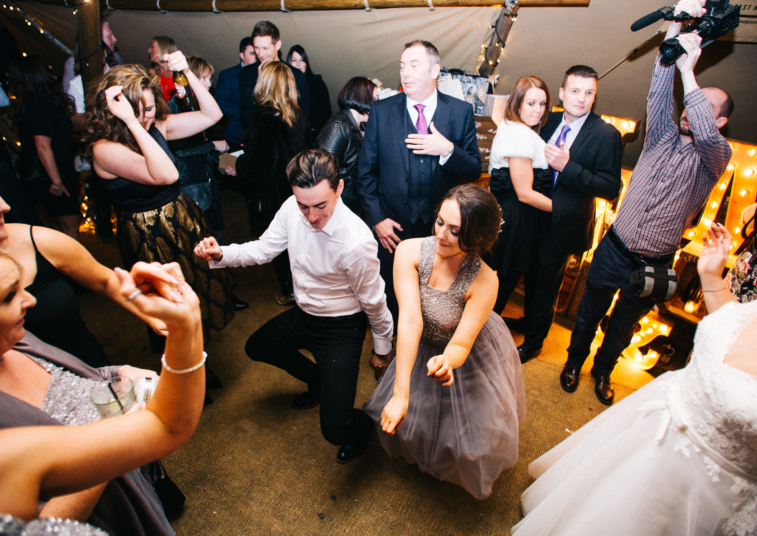 guests dancing - Tipi wedding at the Oast house Manchester