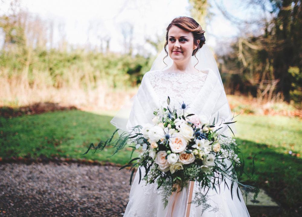 portrait of the bride outside samlesbury hall - wedding photographer lancashire