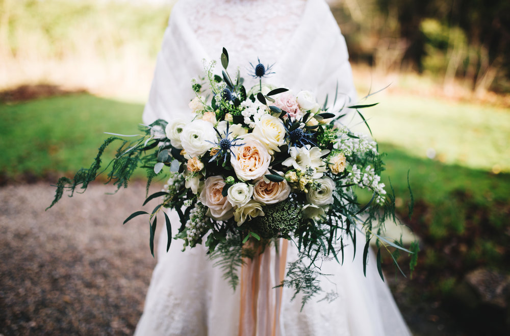 close up of the bride's winter wedding bouquet